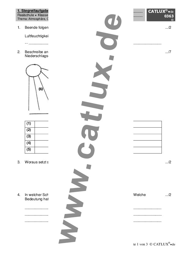 ▷ Schulaufgaben Erdkunde / Geographie Klasse 7 Realschule | Catlux