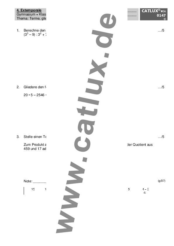 extemporale stegreifaufgabe mathematik terme aufstellen. Black Bedroom Furniture Sets. Home Design Ideas