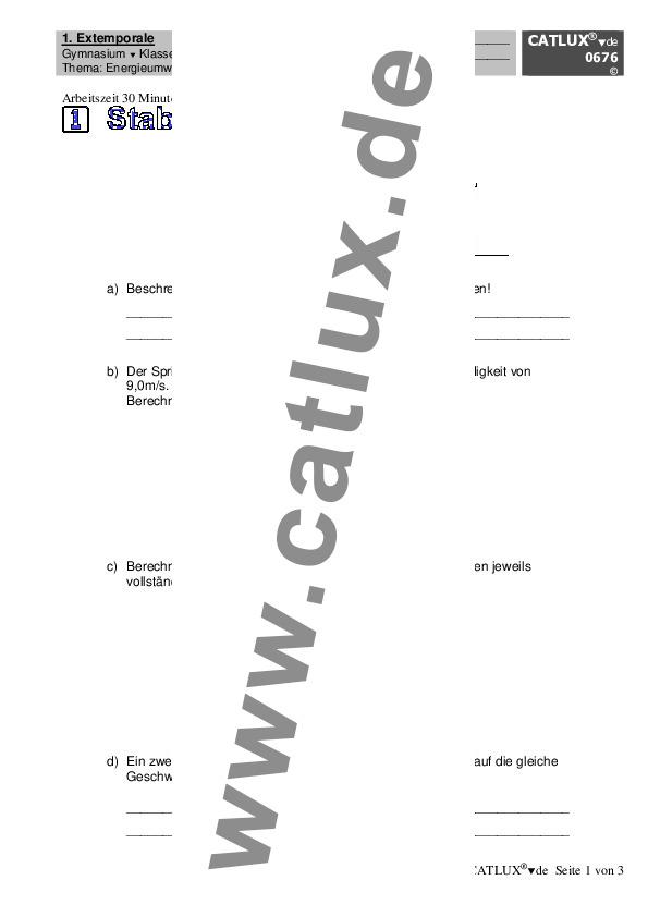 ▷ Schulaufgaben Physik Klasse 8 Gymnasium   Catlux