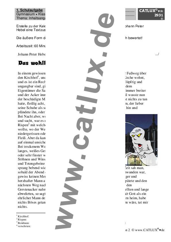 Aufsatz Gymnasium Klasse 7 Deutsch : Catlux