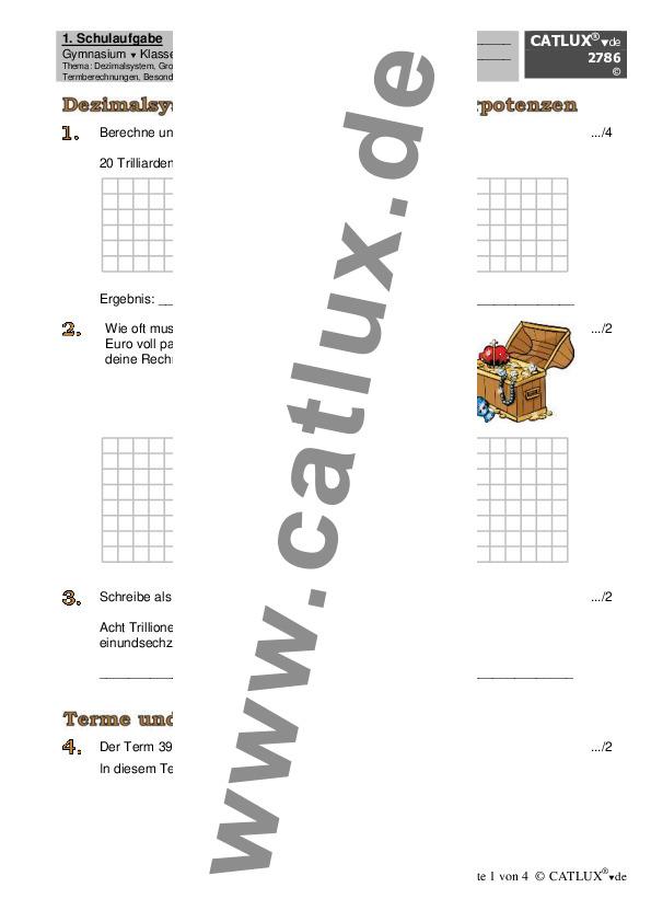 ▷ Schulaufgaben Mathematik Klasse 5 Gymnasium | Catlux