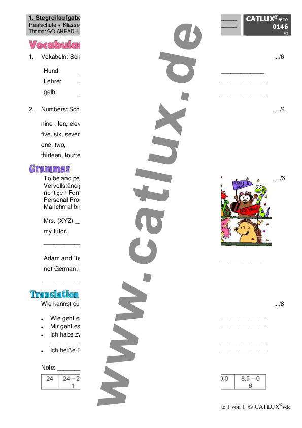 ▷ Schulaufgaben Englisch Klasse 5 Realschule Go Ahead | Catlux