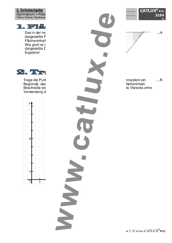 Schulaufgabe Mathematik Dreieck, Parallelogramm, Trapez – Quader ...