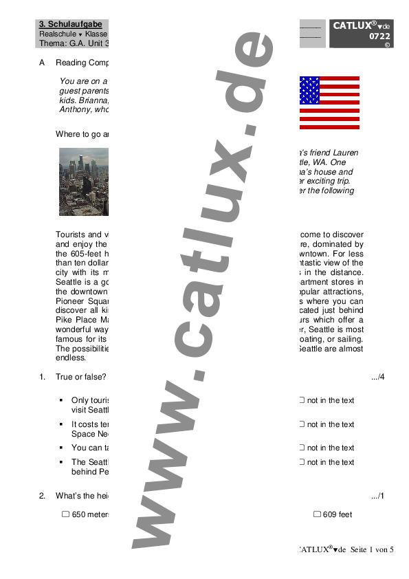 ▷ Schulaufgaben Englisch Klasse 8 Realschule Go Ahead | Catlux
