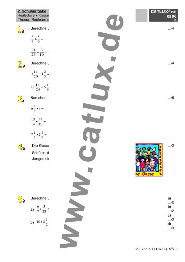schulaufgaben mathematik klasse 6 realschule catlux. Black Bedroom Furniture Sets. Home Design Ideas