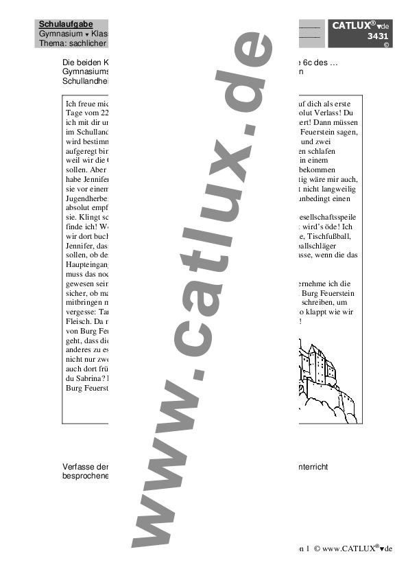 Aufsatz Deutsch Klasse 6 Gymnasium Catlux