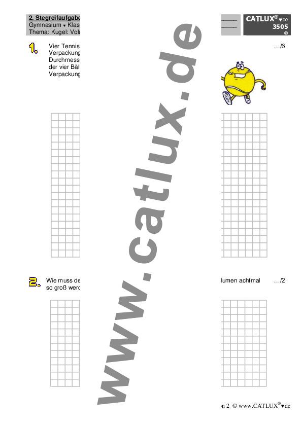 ▷ Schulaufgaben Mathematik Klasse 10 Gymnasium | Catlux