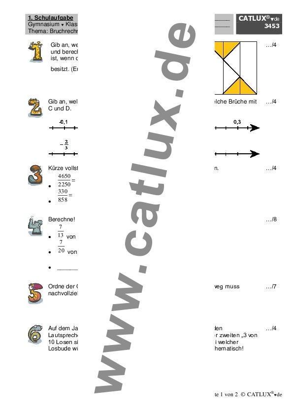 schulaufgaben mathematik klasse 6 gymnasium catlux. Black Bedroom Furniture Sets. Home Design Ideas