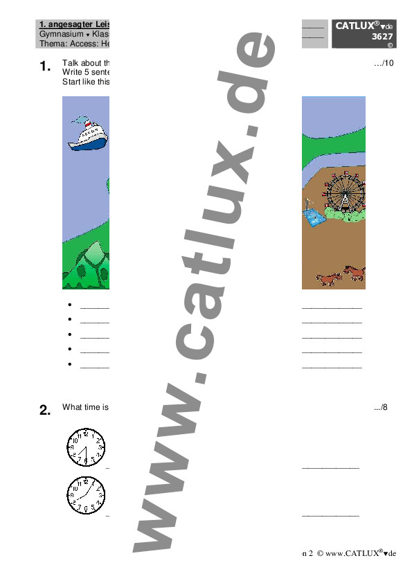 ▷ Schulaufgaben Englisch Klasse 5 Gymnasium | Catlux