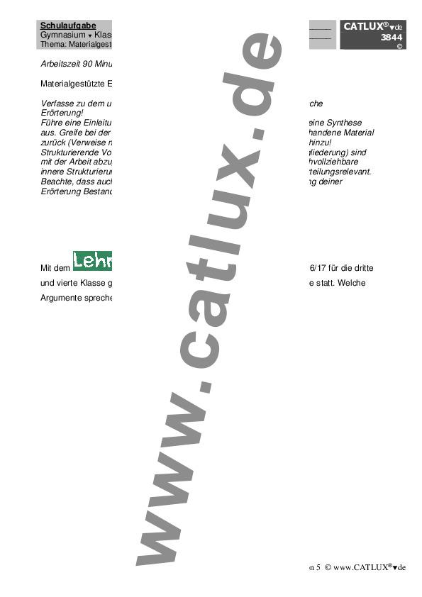 materialgesttzte textgebundene errterung als 4 schulaufgabe im fach deutsch der 9 klasse gymnasium - Dialektische Erorterung Beispiel Klasse 9