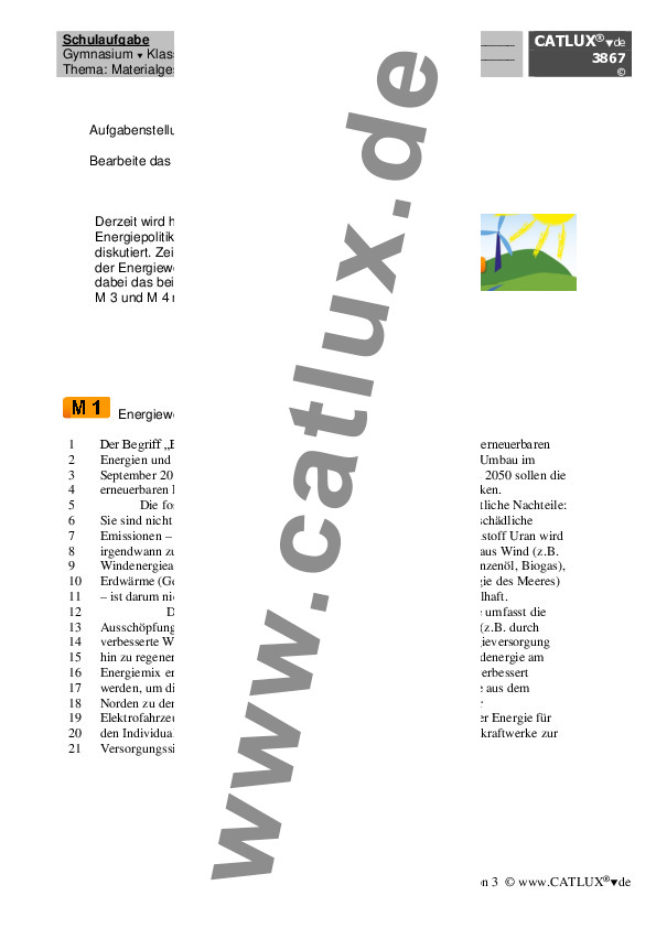schulaufgabe fr das fach deutsch materialgesttzte textgebundene errterung zum thema energiewende - Erorterung Beispiel Klasse 10