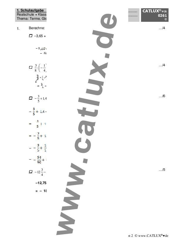 schulaufgabe mathematik terme gleichungen prozentrechnung realschule klasse 7 mathematik. Black Bedroom Furniture Sets. Home Design Ideas