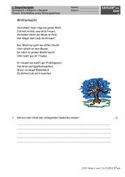 Gedichtanalyse Deutsch Klasse 6 Gymnasium Catlux