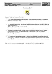 Brief Persönlich Deutsch Klasse 6 Gymnasium Catlux