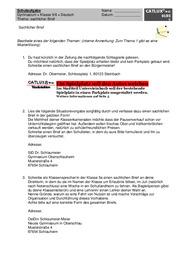 Schulaufgabe Deutsch Sachlicher Brief Gymnasium Klasse 5 Deutsch