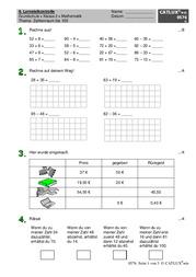 lernzielkontrolle probe mathematik zahlenraum bis 100 grundschule klasse 2 mathematik catlux. Black Bedroom Furniture Sets. Home Design Ideas