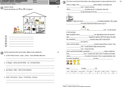 Klassenarbeit Englisch Klasse 5