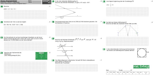 Jahrgangsstufentest Realschule Mathematik Klasse 8